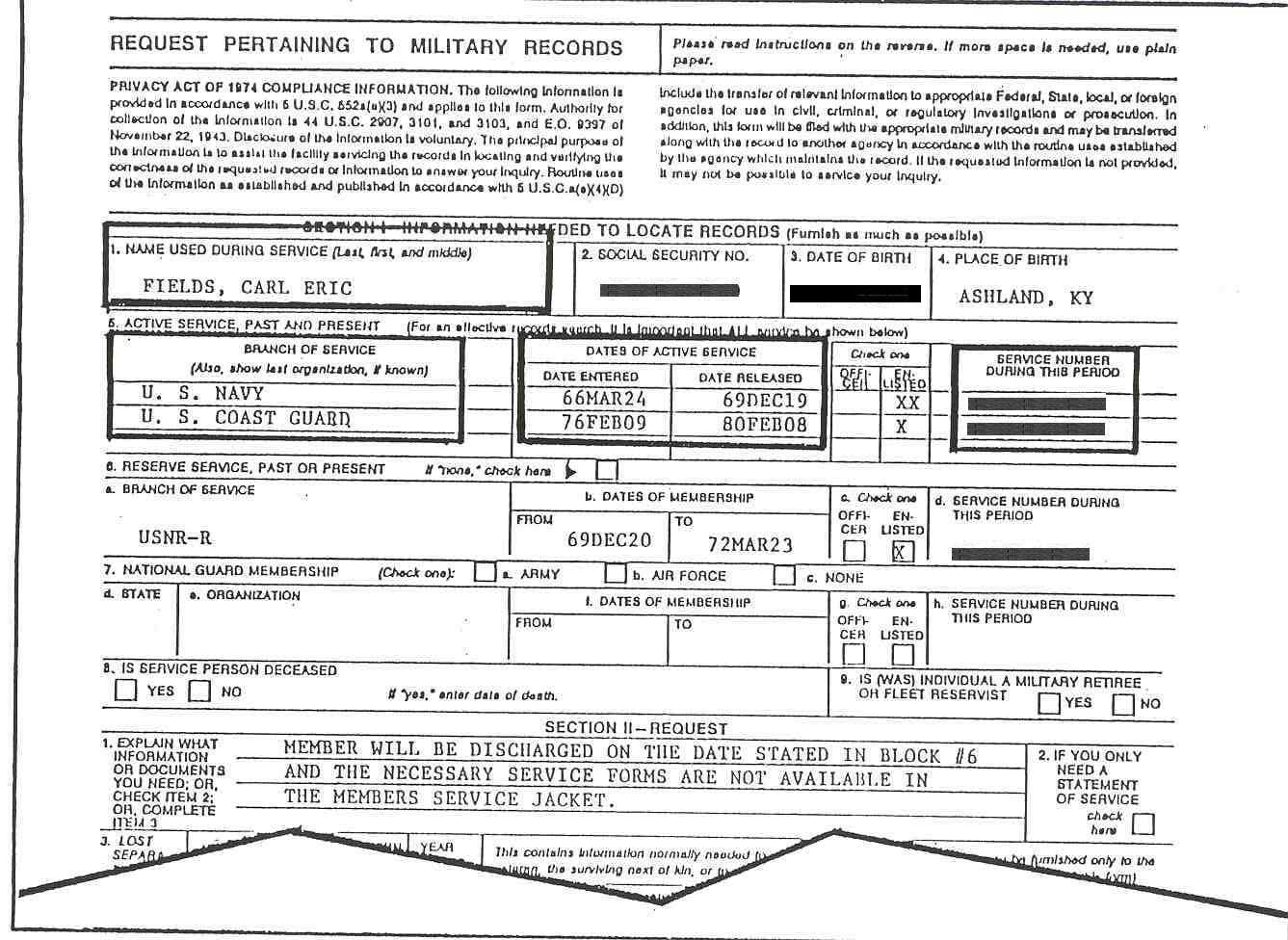 Figure 1 Standard Form 180 Request Pertaining To Military Records