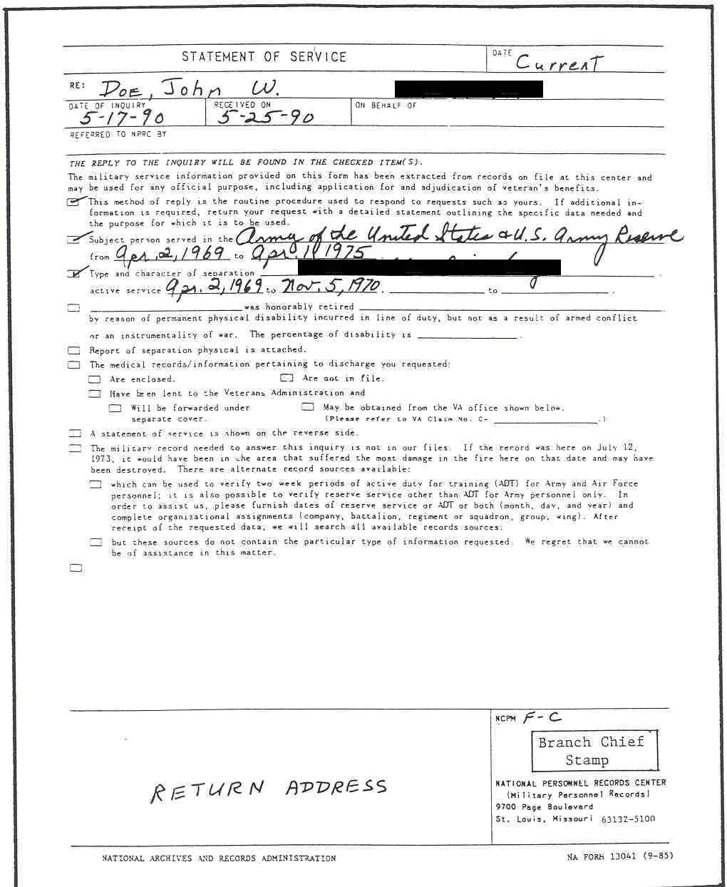Figure 9: Sample completed NA Form 13041